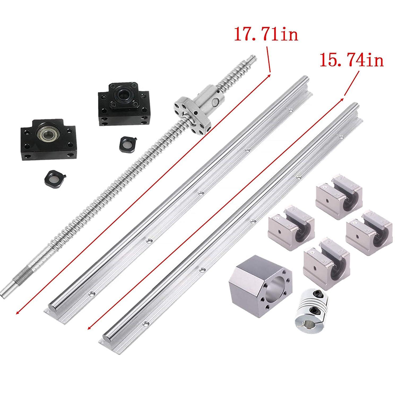 Ball Screw kit SFU1605-400mm Linear Motion Kit Ballscrew kit+CNC SBR16-400mm Support Rail,length Approx 15.7inch//400mm