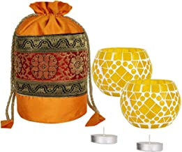 Lal Haveli Mosaic Glass with Coin Bag Tea Light Candle Holders Set of 2 Birthday Party Gift Pack