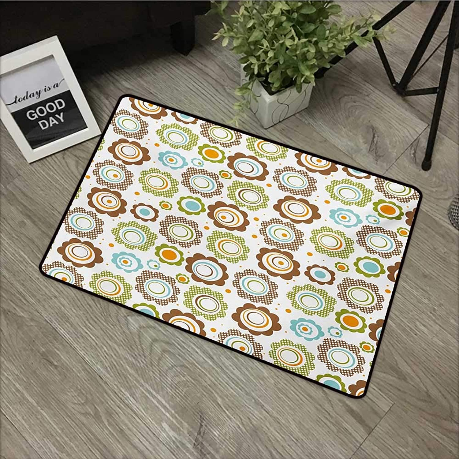 Clear Printed Pattern Door mat W35 x L59 INCH Floral,Traditional Retro Polka Dots Cartoon Style Abstract Flower Petals colorful Circles,Multicolor with Non-Slip Backing Door Mat Carpet
