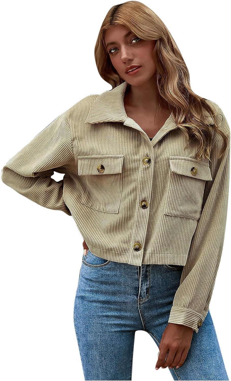 Corduroy Jacket Women, Women's Fashion Slim Fit Cropped Button Down Corduroy Shirts Cardigan Jackets with Pockets