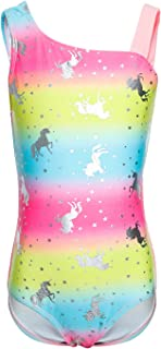 LEINASEN One Piece Swimsuits for Girls, Kids Racer Back Horse Bathing Suit