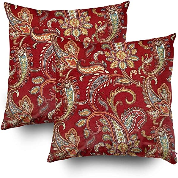 Shorping Zippered Pillow Covers Pillowcases 18X18Inch 2 Pack Red And Gold Paisley Print Lumbar Decorative Throw Pillow Cover Pillow Cases Cushion Cover For Home Sofa Bedding