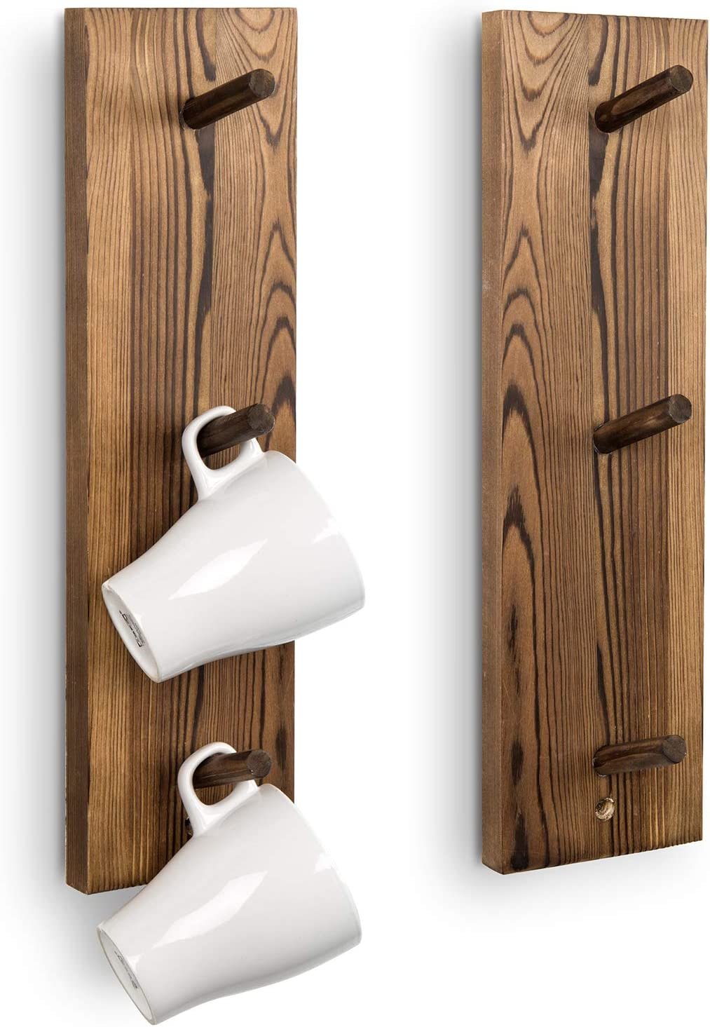 MyGift 3-Hook Wall Mounted Rustic Burnt S Hanging Mug Nippon regular agency Wood Popular standard Solid