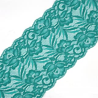 5 Yards Floral Lace Ribbon Stretch Tulle Lace Trim Elastic Webbing Fabric for DIY Jewelry Making Craft Clothes Accessories Gift Wrapping Wedding Party Decoration (Teal)