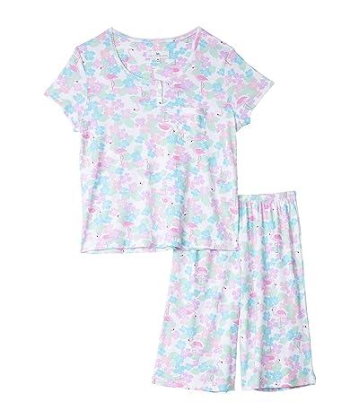 Karen Neuburger Petite Tropical Capsule Short Sleeve Pullover Bermuda Pajama (Caribbean Queen White) Women