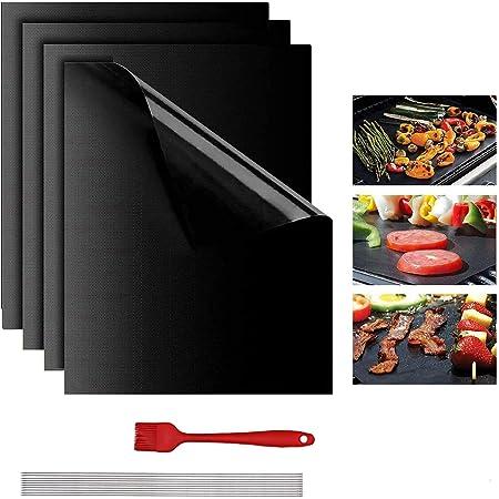 Lyeiaa Lot de 4 tapis de cuisson anti-adhésifs pour barbecue au charbon de bois ou au grill électrique Résistant à la chaleur Réutilisable Facile à nettoyer avec brosse en silicone et pince de barbecu