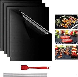 Lyeiaa Lot de 4 tapis de cuisson anti-adhésifs pour barbecue au charbon de bois ou au grill électrique Résistant à la chal...