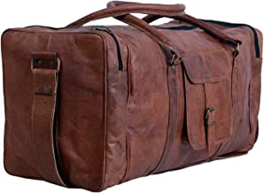 True Grit Leather- Vintage Brown Mens Leather Travel Duffel Overnight Bag Luggage Suitcase (24 Inch)