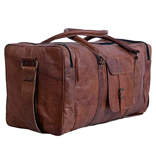 349cc83a75e1 True Grit Leather- Vintage Brown Mens Leather Travel Duffel Overnight Bag  Luggage Suitcase (24