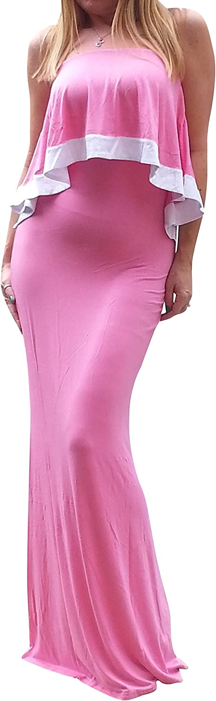 Maya Antonia Plus Size Strapless Ruffle Maxi Dress Pink White Trim, Extra Long