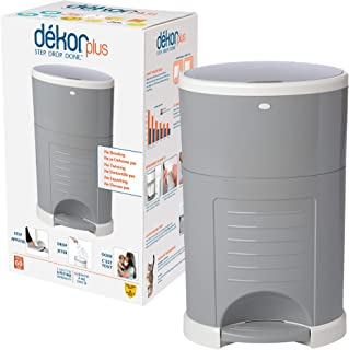 Dekor Plus Hands-Free Diaper Pail | Gray | Easiest to Use | Just Step – Drop – Done | Doesn't Absorb Odors | 20 Second Bag...