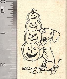 Halloween Dachshund Dog Rubber Stamp, with Long Jack-O-Lantern
