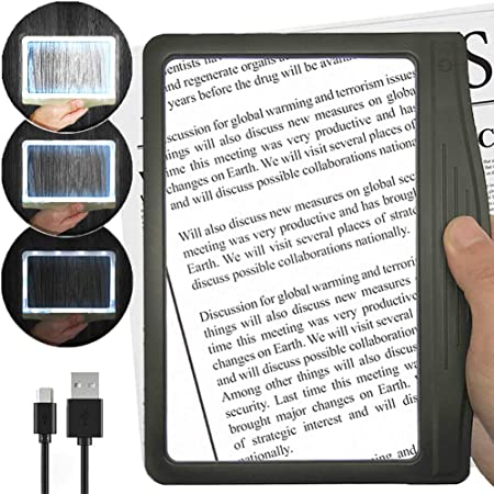 3X Full Page Magnifying Glass for Reading Foldable Desktop Portable Reading Magnifier for Low Vision Hands-Free Large Rectangular Magnifier with LED Lighted Seniors with Aging Eyes