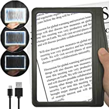 [Rechargeable] 3X Large Ultra Bright LED Page Magnifier with 12 Anti-Glare Dimmable LEDs (More Evenly Lit Viewing Area & R...