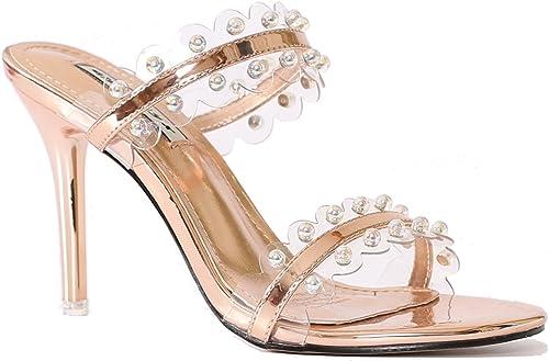 KHSKX-La Nouvelle Summer Perles Avec Une Belle Drag Chaussures Sandales à Talons Hauts Mesdames Du Cristal Chaussures Sandales Slim