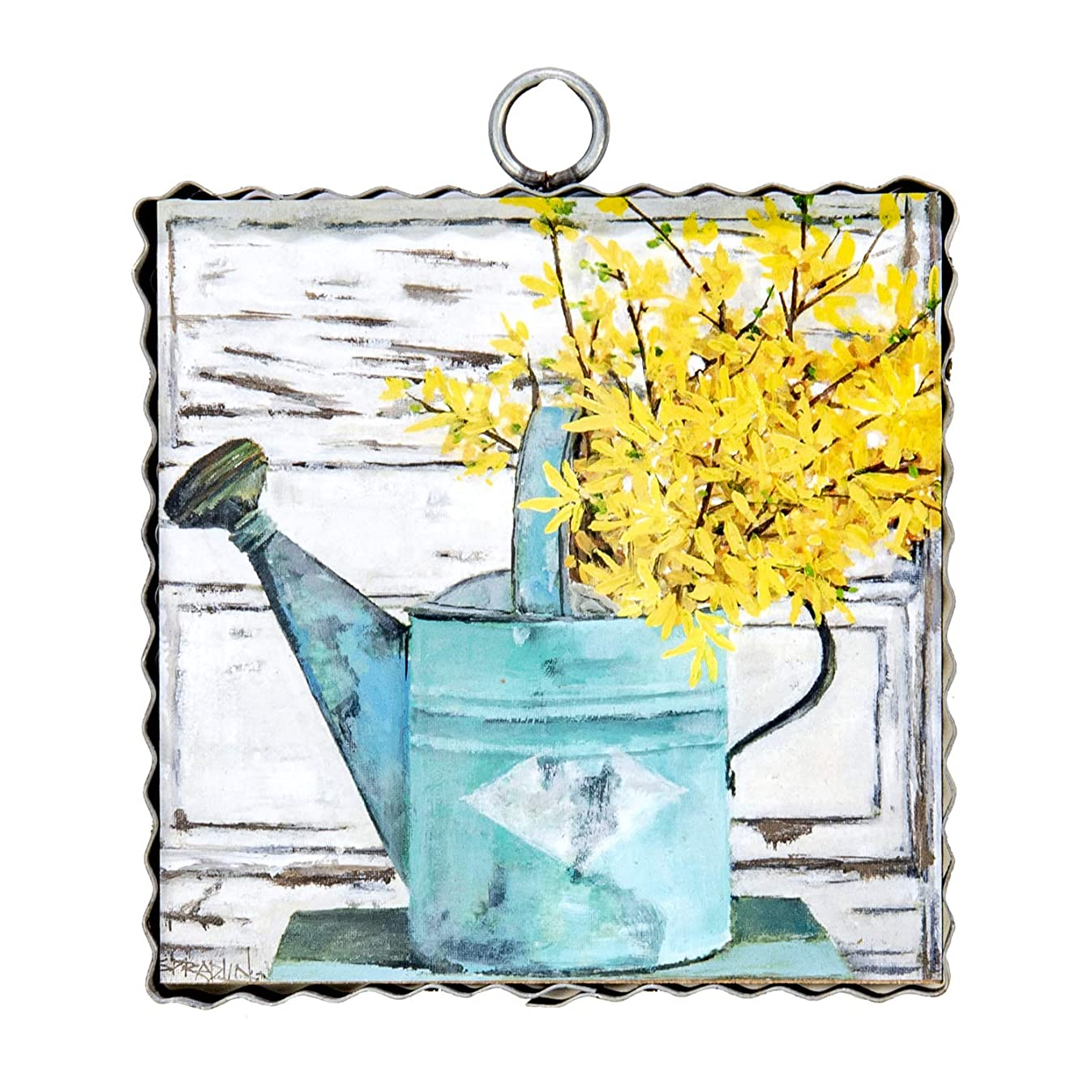 The Round Top Collection - Gallery Can of Forsythia Wall Art - Metal & Wood
