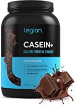 Legion Casein+ Chocolate Pure Micellar Casein Protein Powder - Non-GMO Grass Fed Cow Milk, Natural Flavors & Stevia, Low C...