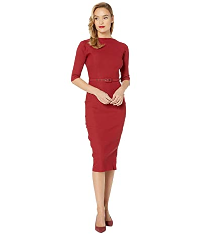 Unique Vintage 1940s Style Stretch Sleeved Adelia Wiggle Dress (Red) Women