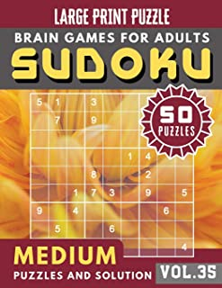 Sudoku Medium: sudoku puzzle books one per page | Sudoku puzzle for memory Sudoku Quest for Adults & Seniors and Sudoku Solver (Sudoku Brain Games Puzzles Book Large Print Vol.35)