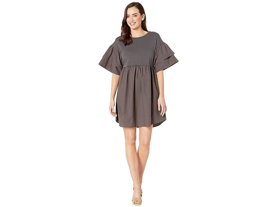 Bobeau Knit/Woven Babydoll Dress (Dark Grey) Women