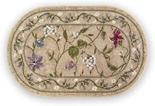 Collections Etc Colorful Oval Floral Butterfly Accent Rug with Skid-Resistant Backing - Décor for Any Room in Home, Beige, 30