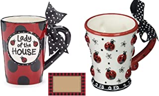 """Lady of the House"" Ladybug Coffee Mug and Ladybug Coffee/Tea Cup – 2 Mug Bundle"