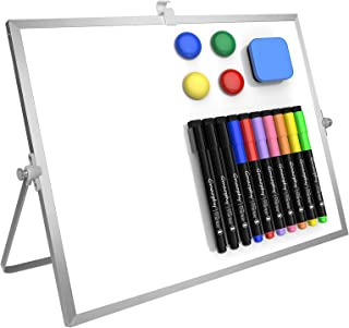 """Dry Erase White Board, 16""""X12"""" Large Magnetic Desktop Whiteboard with Stand, 10 Markers, 4 Magnets, 1 Eraser, Portable Dou..."""