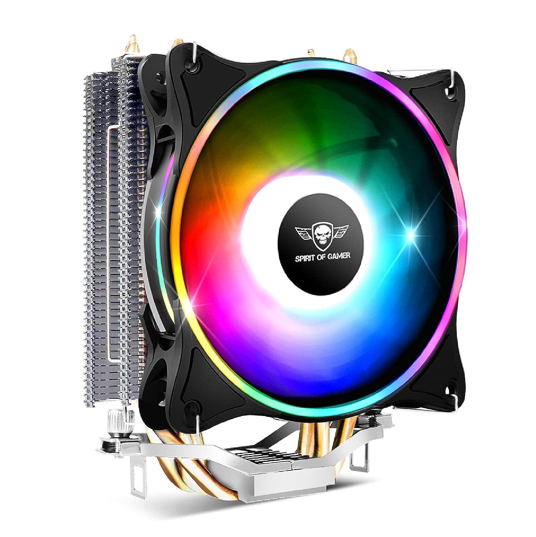 Spirit Of Gamer - AIRCOOLER 120 MM ARGB - Ventilador para procesadores Intel y AMD - Retroiluminación RGB direccionable 3 Pin / 5 Voltios - Ventilador PWM de 120 mm - Disipador de aluminio