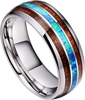 DOUX 8mm Mens Tungsten Carbide Wedding Ring Real Blue Opal & Koa Wood Inlay Wedding Band High Polished Comfor Fit Size 6-14
