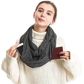 Infinity Scarf With 2 Hidden Zipper Pockets-Secret Travel Scarfs for Women Men