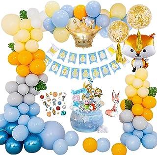 Yansion Decoración Cumpleaños, Globos de Cumpleaños de Zorro Pequeño Príncipe Tema Fiesta de Cumpleaños Corona Globo Cake Topper para Niños Decoraciones Aniversario Baby Shower