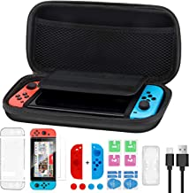 Rimposky 15 in 1 Accessories Kit for Nintendo Switch Including Carrying Case ,Screen Protector,Game Card Case,Joy-con Gel Guards,Thumb Grips Caps,Anti-Scratch Transparency Hard Back Case Cover