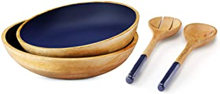 Set of 2 Large Serving Bowls with Salad Servers for Parties or Wooden Bowls for Food, Pasta, Salad, Fruits, 12 inch and 11...