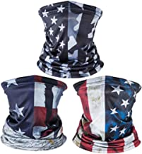 American US Flag Face Bandana Neck Gaiter, Sun UV Dust Protection Reusable Half Mask Scarf Motorcycle Balaclava for Men Women