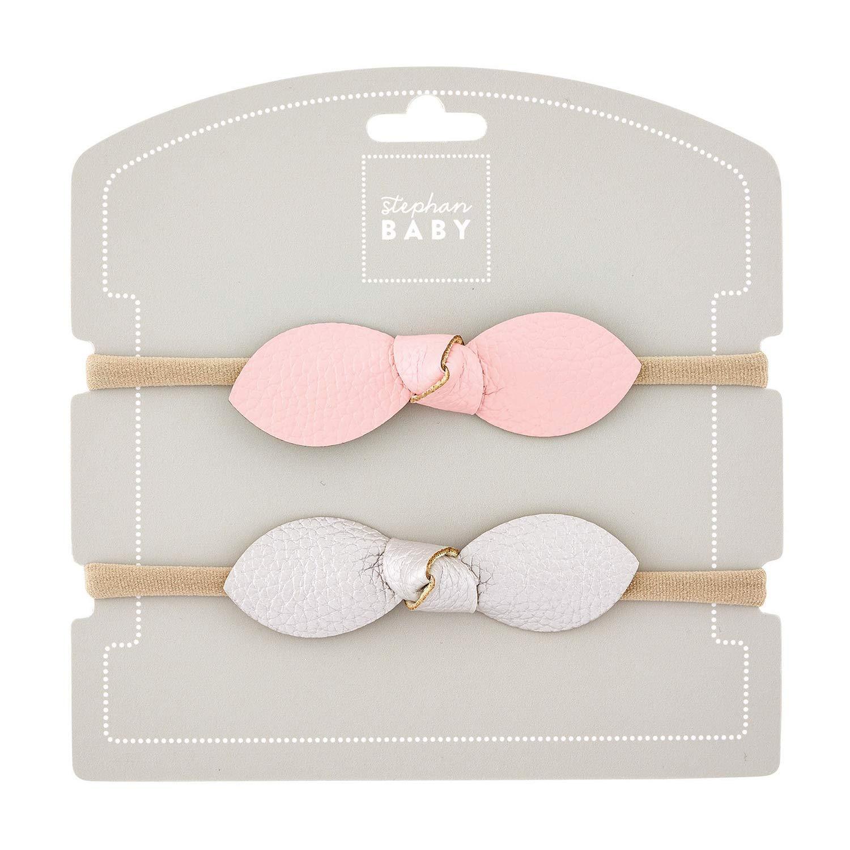 Pink and Silver 3 x 1 Nylon Elastic Fabric Hair Accessory Headband Set of 2