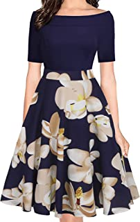 Women's Vintage Off Shoulder Pockets Casual Floral A-Line Party Cocktail Swing Dress OX232