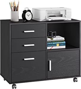 Allon 3 Drawer Wooden File Cabinet, Mobile Lateral File Cabinet with Rollers for Letter Size or A4 Hanging Folders, Printer Stand with Open Storage Cabinet for Home Office, Black
