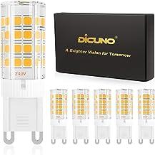 DiCUNO G9 LED-lamp 4W, Vervanging voor 40W halogeenlampe, 450 Lumen, 110-240V, Warm wit 3000K, Niet dimbaar, Energiebespar...