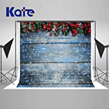 Kate 7×5ft Christmas Backdrops Fir Tree with Cones Xmas Background Snow on Wooden Blue Board Christmas Photo Backdrops Seamless Photo Studio Booth Props for Photography Seamless
