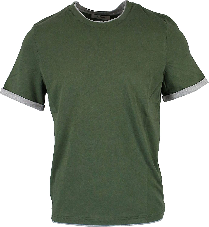 ALPHA STUDIO Men's AU9410C6105 Green Cotton TShirt