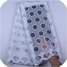 Pure White African Dry Lace Fabrics Milk Silk Lace Fabric for Wedding Stoned French Mesh Lace Fabricsf1582,White