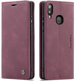 جراب Galaxy A20، جراب Galaxy A30، جراب محفظة جلد Bpowe بتصميم كلاسيكي مع فتحة للبطاقات وقفل مغناطيسي قابل للطي لهاتف Samsung Galaxy A20/Galaxy A30, احمر نبيذي