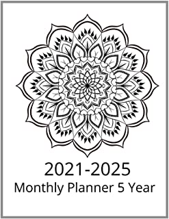 2021-2025 Monthly Planner 5 Year:: 60 months Pocket Calendar, Password Log, Contact Name and Include Lots Of Space For Not...