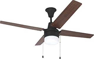 Litex E-UBW48ABZ4C1 Wakefield Collection 48-Inch Ceiling Fan with Four Reversible Golden Maple/Mahogany Blades and Single Light Kit with frosted Glass