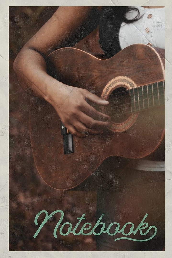 も揃える不安定なNotebook: Guitarra Acustica Excellent Composition Book Journal Diary for Men, Women, Teen & Kids Vintage Retro Design for Folk Music Fans