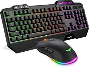 Havit Keyboard Rainbow Backlit Wired Gaming Keyboard Mouse Combo, LED 104 Keys USB Ergonomic Wrist Rest Keyboard, 4800 Dots Per Inch 6 Button RGB Mouse for Windows Gamer Desktop, Computer (Black)