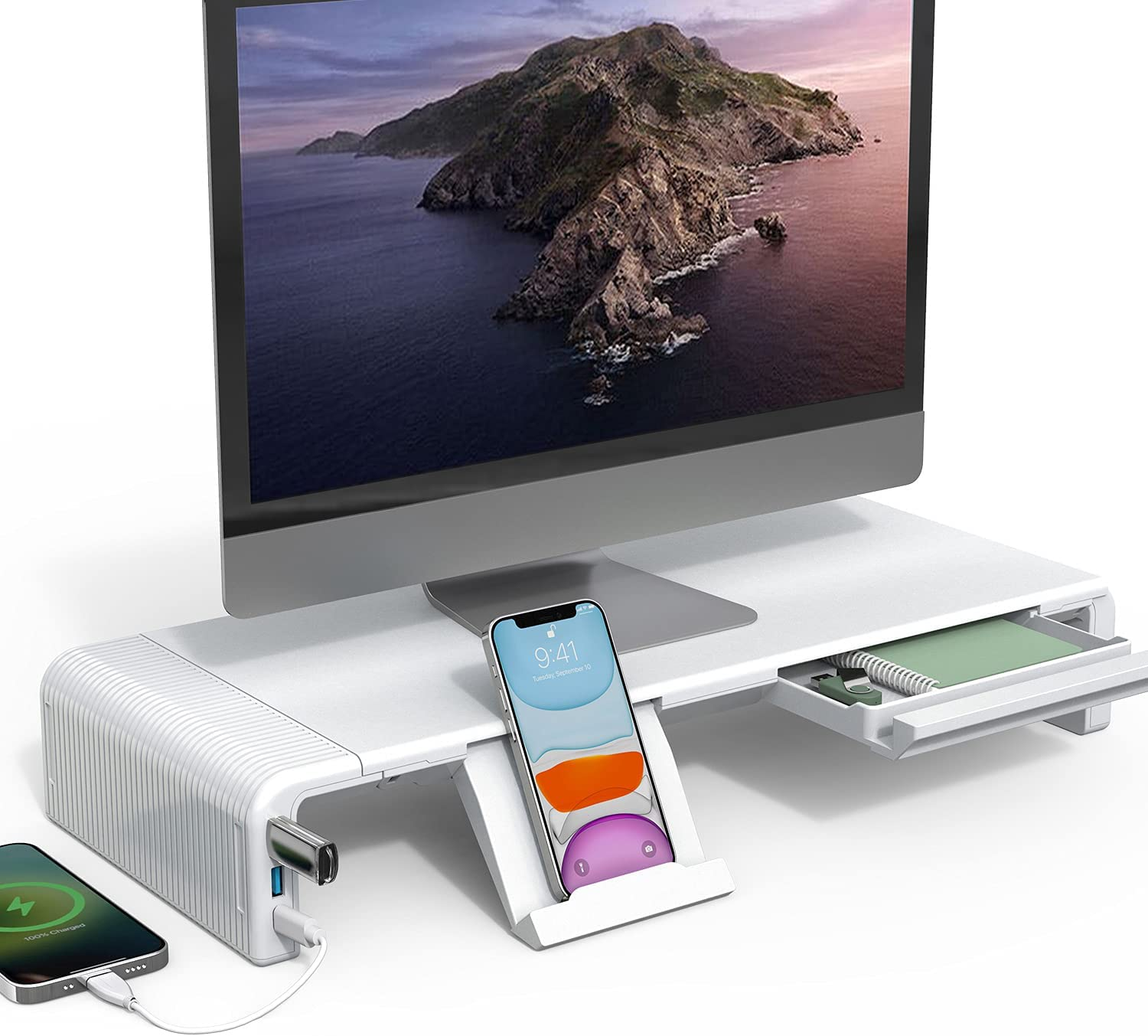 Adjustable Monitor Stand,Computer Monitors Riser with USB 3.0 &Type C Ports, Support 24W Fast Charging and Transfer Data, for Desktop, Laptop, Computer, MacBook, Notebook, PC (White)