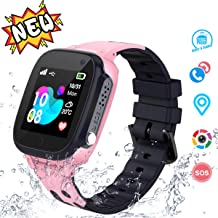 Kids Waterproof Smartwatches Phone - LBS Tracker Locator Touch Screen Wrist Watch with Call Voice Chat Pedometer Alarm Clock Gifts for Boys Childrens Day Girls (Pink)