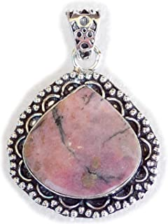 Rhodochrosite Pendant, Silver Plated Brass Pendant, Handmade Pendant, Gift Jewelry, Women Jewellry, Fashion Jewellry, BRS-...