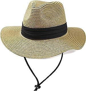 قبعة الشاطئ للفتيات المراهقات من القش مرنة للوقاية من الشمس قبعة الصيف واسعة الحواف فيدورا (7-15T)